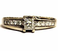 14k white gold .895ct radiant diamond engagement ring 3.5g estate vintage