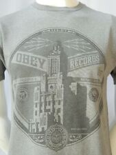 OBEY Propaganda Records Classic Design T Shirt Sz Small Heathered Gray
