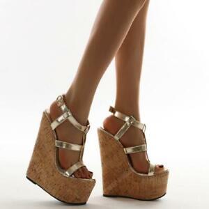 Womens Fashion Summer Peep Toe T-strap Sandals Roman Shoes Wedge High Heels Siz