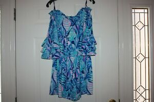 Lilly Pulitzer Calla Off The Shoulder Romper in Scale Up  Size Medium M