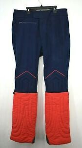 Profile Mens Show Ski Pants Vintage Zipper Buckle Flare Red & Navy Wool 38 R