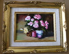 """Framed Oil Painting """"Floral-N18"""" 9x11 in."""