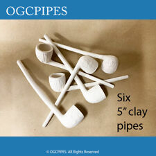 """NEW CLAY PIPE - 5"""" WHITE TOBACCO PIPES-  SET OF SIX"""