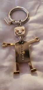Coach Unisex Men's Robot Movable Parts Silver Gold Logo Keychain fob NWTS