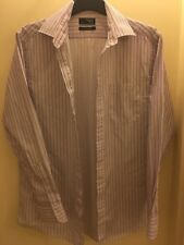 Mens - Thomas Nash - White With Dark Red Stripes Shirt (Size 15 1/2 - 39.5cm)