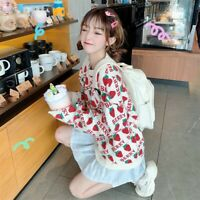 Women Girl Strawberry Sweater Knitted Pullovers Tops Japanese Cute Kawaii Casual