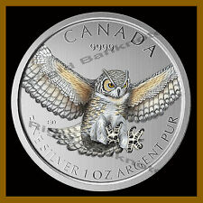 Canada 5 Dollars Silver 1 Oz Coin, (With White Spots) 2015 Horned Owl Colorized