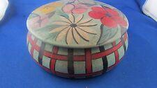 ancienne boite ronde coffret en bois peint decor fleurs art deco epoque 1930
