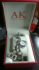 ANNE KLEIN CHARM BRACELET WATCH-SILVER, WHITE ACCENTS