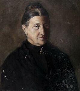 L.MATTHIS 1901..GRAND & BEAU PORTRAIT..FEMME AU CHIGNON AUX ALLURES D'ARLÉSIENNE