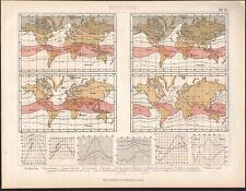1870 Gravure originale météorologie relevés thermiques carte météorologique
