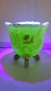 Antique EAPG NORTHWOOD Custard Spooner LOUIS XV Pattern c1898 Uranium Glass