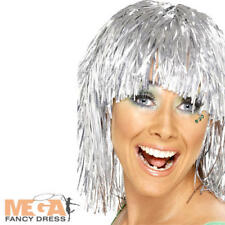 Shiny Silver Cyber Tinsel Wig Adult Fancy Dress 1970s Metallic Costume Accessory