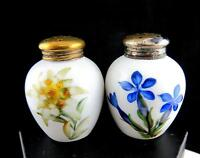"""ROSENTHAL GERMANY FLORAL WITH METAL CAPS 2 1/8"""" ROUND SALT & PEPPER SHAKERS"""