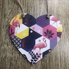Flamingo Handmade Decoupaged Flamingo Heart Plaque Decoration Tropical Bird