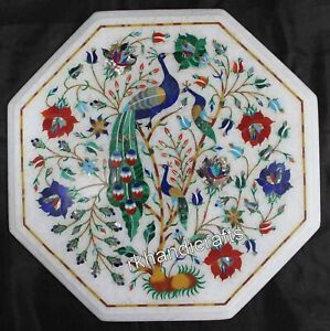 12 Inches Marble Coffee Table Top Hand Inlaid Side Table with Peacock Pattern