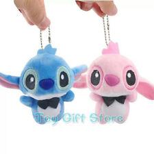 """2pcs Stitch Angel Pink 4"""" Keychain Plush Doll Stuffed Toy"""