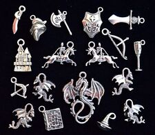 18pc KNIGHTS & DRAGONS Theme Charm Set size 12mm to 35mm Antiqued Tibetan Silver