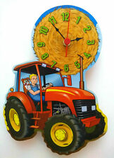 CHILDRENS FARM TRACTOR CLOCK HAND MADE WOODEN CLOCK NURSERY WALL RED TRACTOR