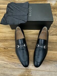 Gucci Black Leather Slip-On Shoes Size 8.5 UK