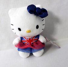 """Sanrio Hello Kitty Plush Doll Toy 6.5"""" Union Jack Dress Blue Bow"""
