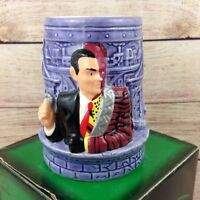 Vintage 1995 Ceramic Applause Figural Mug Cup Two Face Batman Forever Movie Box