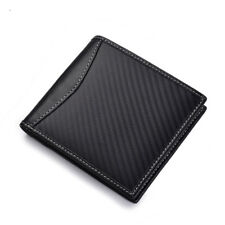 Carbon Fiber Wallet Bifold Leather Money Credit Card Holder RFID Blocking Purse