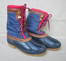 EDDIE BAUAR Winter Fleece Lined Boot Brown Leather/Blue/Black/Red Rubber Sole 10