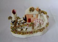 Rare Staffordshire Pottery Flatback Water Mill with People , Horse & Ducks  a/f