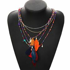 Ethnic Multi-Color Feather Pendant Beads Chain Statement Necklace Women Collares