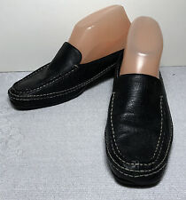 AEROSOLES women black leather slip on MULES SLIDES SHOE size 7M  L293