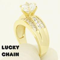 WOMEN`S 925 STERLING SILVER LAB DIAMOND ENGAGEMENT GOLD RING 6g IB36