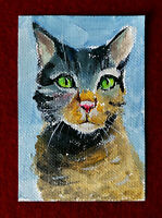 "Original art by Bastet ""Cat #570"" OOAK hand painted ACEO"
