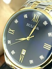 Bulova Men's Watch 98D130 Diamond Blue Dial Roman Numerals FOR REPAIR PARTS