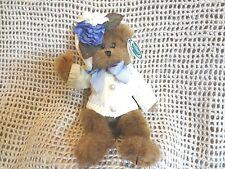 "Bearington Collection 11"" Teddy Bear ""SANDY"" Stuffed Plush White Sweater Flower"