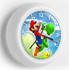 SUPER MARIO WORLD RIDING GREEN YOSHI WALL CLOCK KIDS BEDROOM TV ROOM DECORATION