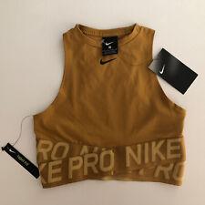 Nike Pro Women's Classic Swoosh Mesh Sports Bra Gold/camel BQ8316-790 Sz XS