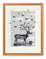 Grands papillons sur stag ltd ed art imprimé antique vintage book page cerfs oiseaux