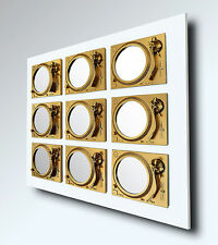 PLAY - Bespoke Technics Turntable Mirror Sculpture - Gold/ White - DJ - Vinyl