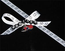 "3/8""  SOCCER BALL Printed White SATIN  Ribbon  25 YARDS"