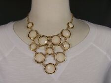 "Cream Gold tone collar bib statement necklace 16"" - 18.5"" long faceted beads"