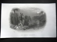 GRAVURE ANCIENNE 19e VERS 1860 - INDE - LES LAMPES FLOTANTES