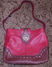 Vintage Purse Western Leather Silver Concho Red Brown Trim Handbag