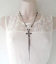"Impresionante 21"" largo Hematites Cadena Collar Colgante de Borla & Diamante Cruz"