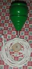 1 GREEN WOODEN TOY SPINNING TOP with String **NEW* Wood Spin Tops Metal Tip