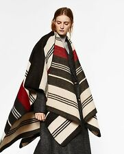 ZARA STRIPED LONG SLEEVED CAPE PONCHO BLANKET SHAWL WOOL JACKET SCARF M MEDIUM