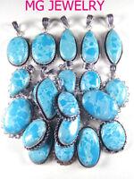 BULK SALE ! Wholesale 10Pcs Larimar Pendant Gemstone 925 Sterling Silver Overlay