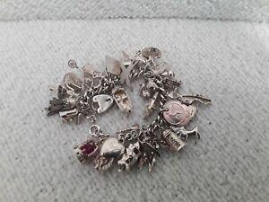 925 Silver Charm Bracelet Fine Jewellery Many Charms 120 grams