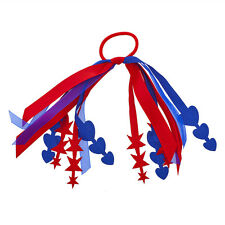 Lux Accessories Red Blue America USA Stars Hearts Ribbon Elastic Hair Tie