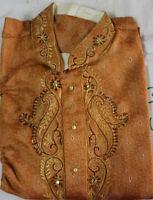 Orange  Indian  Men Kurta Pajama Traditional  Wedding Party  Shirt Free Shawl